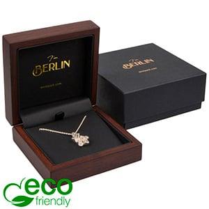 Berlin ECO sieradendoosje voor hanger / armring Mat hout met walnoot-look / Zwart kunstleer 90 x 90 x 38