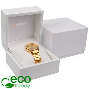 Berlin ECO sieradendoosje voor horloge Glanzend wit hout/ Wit kunstlederen interieur 110 x 110 x 80