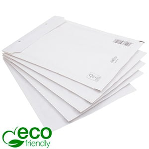 100x Eco-friendly Bubble Mailers, large White paper envelope with plastic bubble-lining 350 x 250 x 4