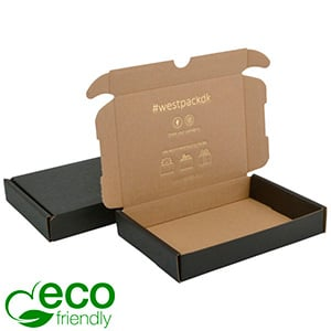 ECO Postal Box, 177x118x29mm Black / Plain Brown Cardboard 177 x 118 x 29
