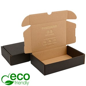 ECO Postal Box, 183x116x44mm Black / Plain Brown Cardboard 183 x 116 x 44