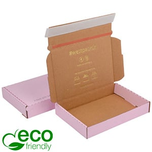 Boîte pliante d'envoi postal ECO, 177x118x29mm Carton kraft rose avec fermeture à ruban 177 x 118 x 29