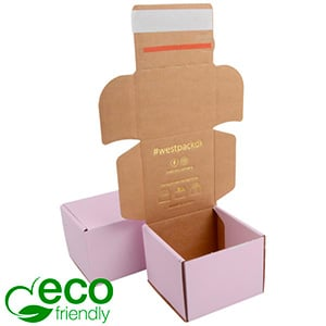ECO Postdoosje, 120x120x90 mm Roze / Naturel karton met tapesluiting 120 x 120 x 90