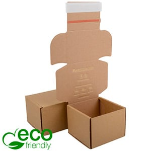 ECO Postdoosje, 120x120x90 mm Naturel karton met tapesluiting 120 x 120 x 90