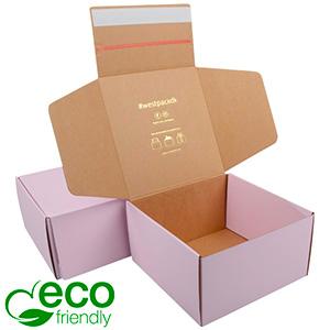 Boîte pliante d'envoi postal ECO, 200x200x110 mm Carton kraft rose avec fermeture à ruban 200 x 200 x 110