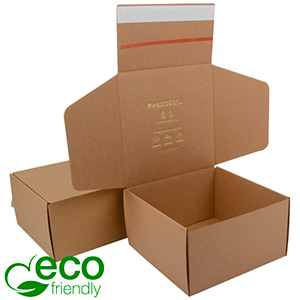 ECO Postdoosje, 200x200x110 mm Naturel karton met tapesluiting 200 x 200 x 110