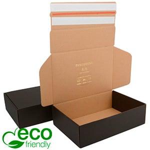 ECO Postdoosje, 270x182x75 mm Zwart / Naturel karton met 2 x tapesluiting 270 x 182 x 75