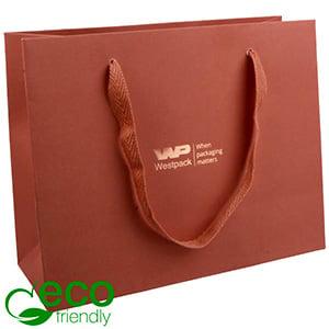 ECO Luxe papieren draagtasje, stevig karton, groot Terracotta kraftpapier 250 x 200 x 100 250 gsm