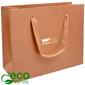 ECO Luksuspose af kraftig karton med hank, stor Natur/brun pose i kraftpapir med vævet stofhank 250 x 200 x 100 250 gsm