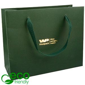 ECO Luxe papieren draagtasje, stevig karton, groot Donkergroen kraftpapier/ Groen stoffen handvat 250 x 200 x 100 250 gsm