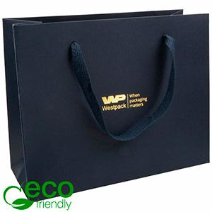 ECO Luxe papieren draagtasje, stevig karton, groot Donkerblauw kraftpapier met stoffen handvat 250 x 200 x 100 250 gsm