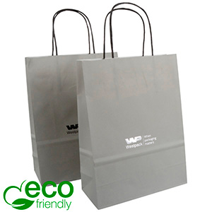 ECO Low-Cost Kraft Paper Carrier Bag, Small Matt Grey Kraft Paper 240 x 180 x 80 90 gsm