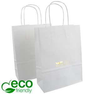 ECO Low-Cost Kraft Paper Carrier Bag, Small Matt White Kraft Paper 240 x 180 x 80 90 gsm