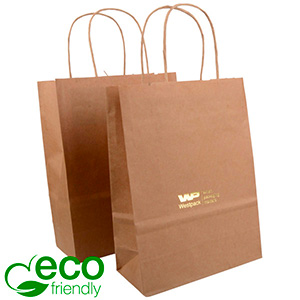 ECO Low-Cost Kraft Paper Carrier Bag, Small Plain Brown Shadow Stripe Kraft Paper 240 x 180 x 80 90 gsm