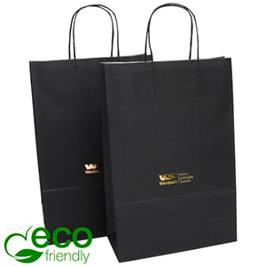 ECO Low-Cost Kraft Paper Carrier Bag, Medium Matt Black Kraft Paper 330 x 220 x 100 90 gsm