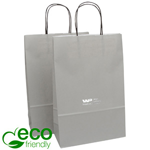 ECO Low-Cost Kraft Paper Carrier Bag, Medium Matt Grey Kraft Paper 330 x 220 x 100 90 gsm