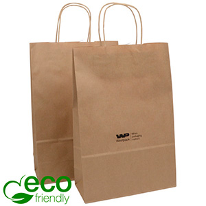 ECO Low-Cost Kraft Paper Carrier Bag, Medium Plain Brown Shadow Stripe Kraft Paper 330 x 220 x 100 90 gsm