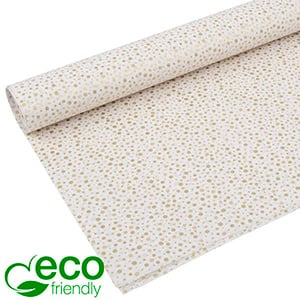 Eco-Friendly Tissue paper, 240 sheets White with gold dots 750 x 500 24 gsm