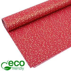 Milieuvriendelijk Vloeipapier, 240 vellen Czerwony ze złotymi kropkami 750 x 500 24 gsm