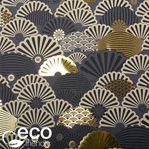 Milieuvriendelijk cadeaupapier nº 1135 ECO Donkergrijs met motief in goudkleur, beige & zwart  50 cm - 100 m