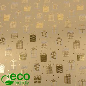 Papier przyjazny środowisku 1169 ECO Złoty w kropki i małe prezenty  40 cm - 100 m - 80 g