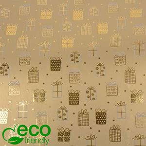 Papier przyjazny środowisku 1169 ECO Złoty w kropki i małe prezenty  50 cm - 100 m - 80 g