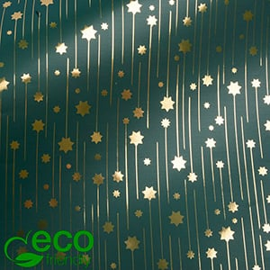 Milieuvriendelijk cadeaupapier nº 1217 ECO Groen papier met gouden sterren  20 cm - 100 m