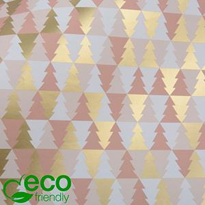 Papier Cadeau Écologique nº 1442 ECO Motif de Noël en rose, blanc et or  50 cm - 100 m