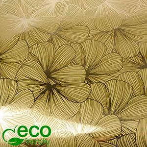 Papier Cadeau Écologique nº 1443 ECO Or avec impression de fleurs  50 cm - 100 m
