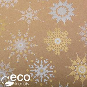 Papier przyjazny środowisku 1844 ECO Brązowy papier w srebrno/złote śnieżynki  30 cm - 100 m - 70 g