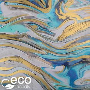 Milieuvriendelijk cadeaupapier 2014 ECO Marmerpatroon met blauwe en gouden accenten  40 cm - 100 m - 80 g