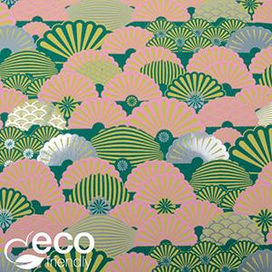 Miljøvenligt gavepapir 2600 ECO Mørkegrøn med motiver i rosa, sølv og gul  50 cm - 100 m - 80 g