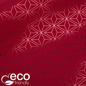 Milieuvriendelijk cadeaupapier nº 3830 ECO Rood papier met grafisch patroon  30 cm - 100 m