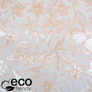 Eco-friendly Wrapping Paper nº 6341 White with marble floral motif  57 cm - 100 m - 80 g