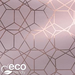 Miljøvenligt gavepapir 7350 ECO Rosa med grafisk print  30 cm - 100 m - 74 g