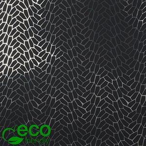 Milieuvriendelijk cadeaupapier nº 7360 ECO Zwart papier met grafische zilveren opdruk   40 cm - 100 m - 74 g