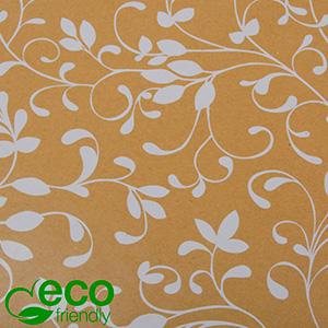 Milieuvriendelijk cadeaupapier 9081 ECO Mat naturel bruin kraftpapier met witte krullen  40 cm - 100 m - 80 g