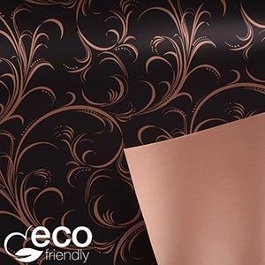 ECO Cadeaupapier 9132 Mat zwart met krullenpatroon in glanzend koper  30 cm - 100 m - 80 g