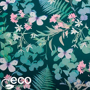 Eco-friendly Wrapping Paper nº 9190 Dark green with multicolour botanical print  40 cm - 100 m - 60 g