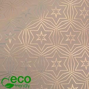 Milieuvriendelijk cadeaupapier nº 9212 ECO Roze papier met gouden sterren  50 cm - 100 m