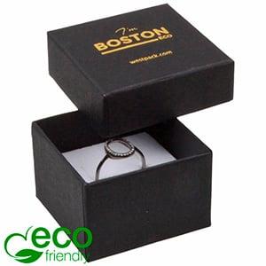 Storkøb -  Boston Eco smykkeæske til ring Mat sort FSC®-certificeret karton/ Hvid skum 50 x 50 x 32