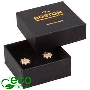 Storkøb -  Boston Eco smykkeæske til ørestikker Mat sort FSC®-certificeret karton/ Sort skum 50 x 50 x 22