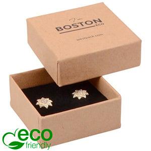 Storkøb -  Boston Eco smykkeæske til ørestikker Mat naturfarvet FSC®-certificeret karton/Sort skum 50 x 50 x 22