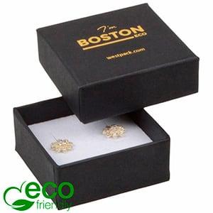 Storkøb -  Boston Eco smykkeæske til ørestikker Mat sort FSC®-certificeret karton/ Hvid skum 50 x 50 x 22