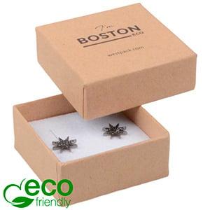 Storkøb -  Boston Eco smykkeæske til ørestikker Mat naturfarvet FSC®-certificeret karton/Hvid skum 50 x 50 x 22