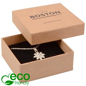 Storkøb -  Boston Eco smykkeæske til vedhæng Mat naturfarvet FSC®-certificeret karton/Sort skum 65 x 65 x 25