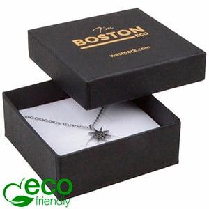 Storkøb -  Boston Eco smykkeæske til vedhæng Mat sort FSC®-certificeret karton/ Hvid skum 65 x 65 x 25