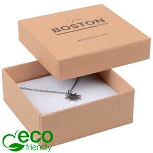 Storkøb -  Boston Eco smykkeæske til vedhæng Mat naturfarvet FSC®-certificeret karton/Hvid skum 65 x 65 x 25