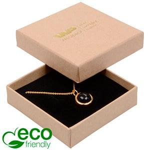Storkøb -  Frankfurt Eco smykkeæske til vedhæng Mat naturfarvet FSC®-certificeret karton/Sort skum 65 x 65 x 17