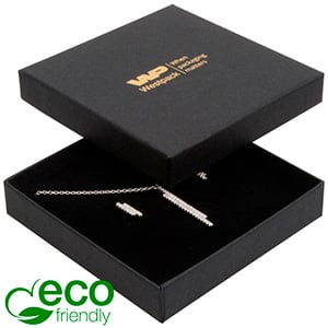 Storkøb -  Frankfurt Eco smykkeæske til halskæde Mat sort FSC®-certificeret karton/ Sort skum 86 x 86 x 17